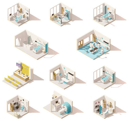 Vector isometric low poly hospital rooms