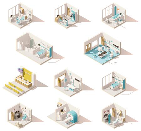 Vector isometrische lage polyziekenhuisruimten