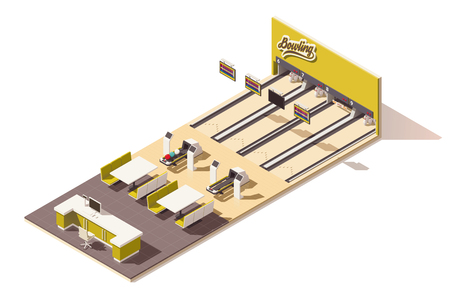 wooden floors: Vector isometric low poly bowling alley interior Illustration