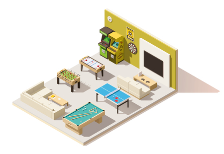 Vector isometric low poly recreation room interior