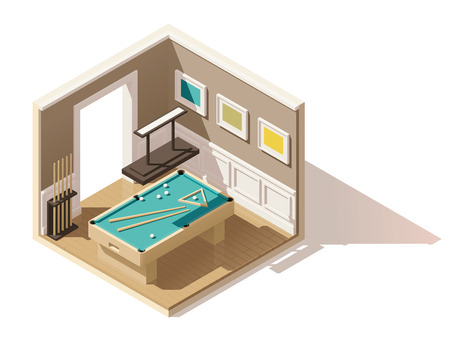 luxury room: Vector isometric low poly pool room Illustration
