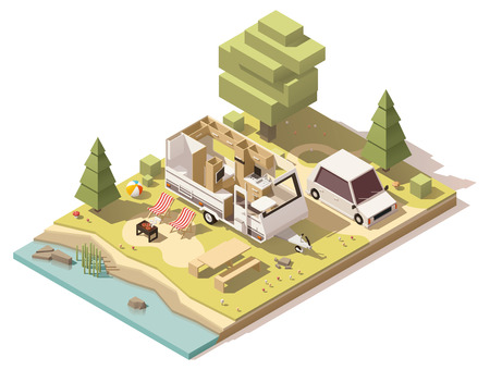 Vector isometric low poly camper in campsite