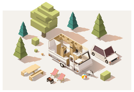home icon: Vector isometric low poly camping equipment