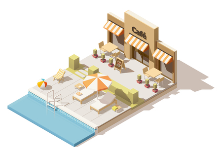 Vector isometric low poly swimming pool and cafe Illustration