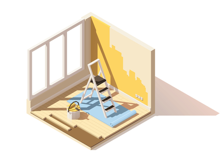 home icon: Vector isometric low poly home renovation icon Illustration
