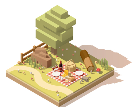 box: Vector isometric low poly campsite