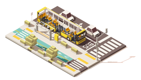 Vector isometric low poly bus on the bus lane Vettoriali