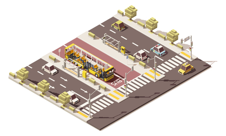 Vector isometric low poly dedicated bus lane