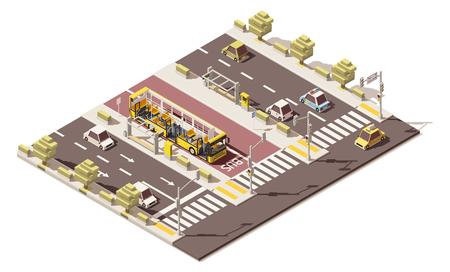 open floor plan: Vector isometric low poly dedicated bus lane