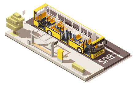 Vector isometric low poly bus near the bus stop