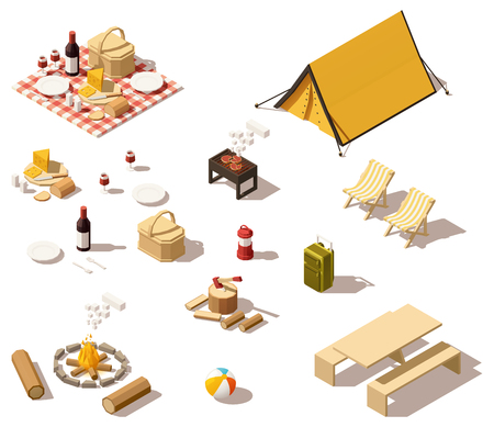 food: Vector isometric low poly camping equipment