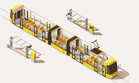 Vector isometrische low-poly-tram met lage verdieping Stock Illustratie