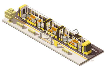 vehicle track: Vector isometric low poly low-floor tram Illustration