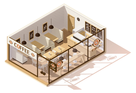 contemporary: Vector isometric low poly coffee shop