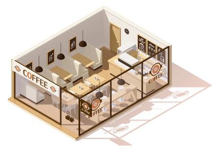Vector isometrische lage poly koffie winkel