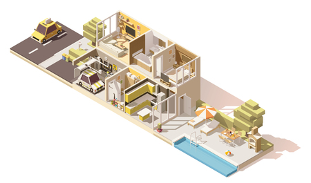 garage on house: Vector isometric low poly house cross-section Illustration