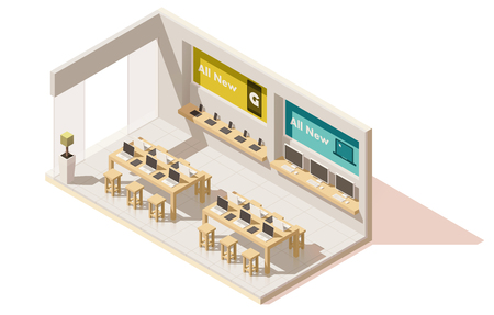 contemporary: Vector Isometric gadget shop