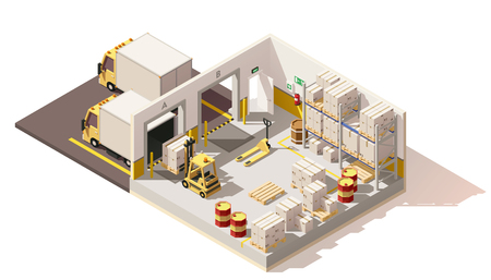 Vector isometric low poly warehouse