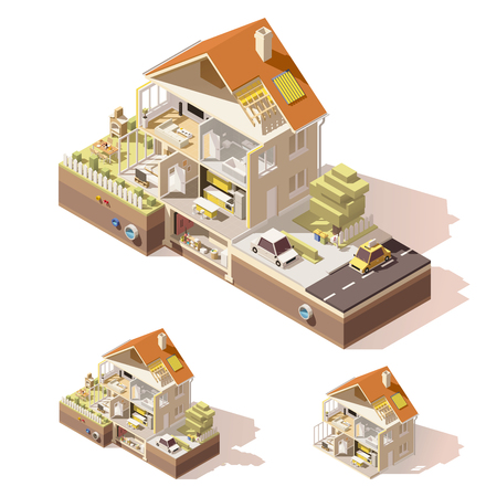 Vector isometric low poly house cross-section Ilustração