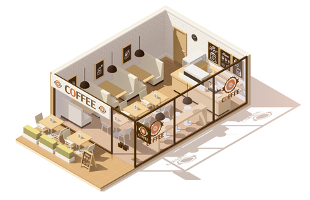 front desk: Vector isometric low poly coffee shop