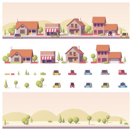 벡터 낮은 폴리 2D 건물과 도시 장면 일러스트