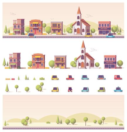 Vector lage poly 2d gebouwen en stadsscène Stockfoto - 79630613