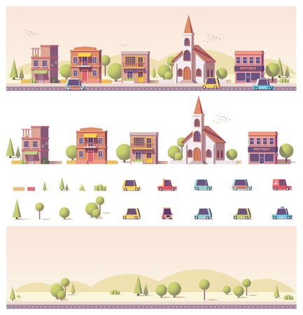 real: Vector low poly 2d buildings and city scene