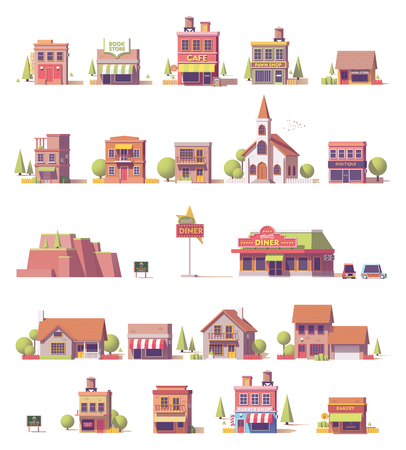 Vector low poly buildings set Stock Illustratie
