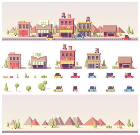 ベクトル低ポリ建物や都市のシーン  イラスト・ベクター素材