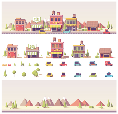 벡터 낮은 폴리 건물과 도시 현장