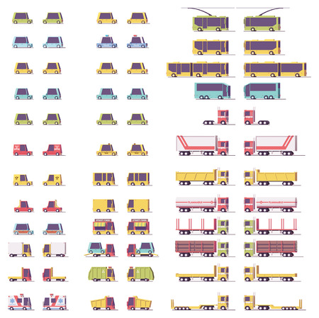 Vector isometric low poly transport set Illustration