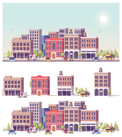layout: Vector low poly 2d buildings and city scene