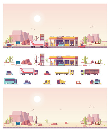 fuelling pump: Vector isometric low poly filling station