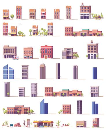 ベクトル低ポリ建物セット