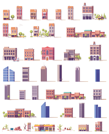 Vector low poly buildings set Vectores