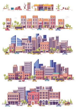 Vector low poly 2d city scenes Stock Illustratie