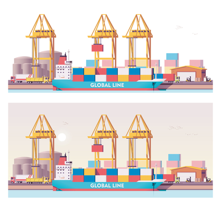 Vector low poly 2d cargo port