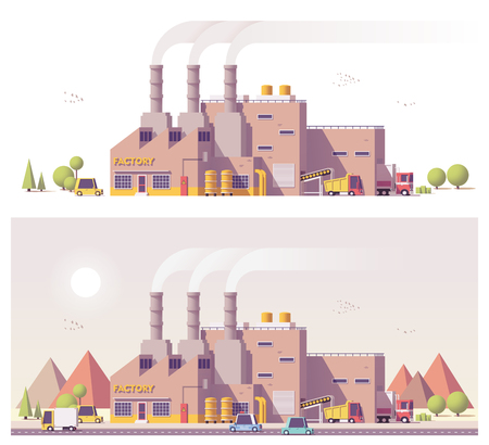 layout: Vector low poly 2d factory Illustration
