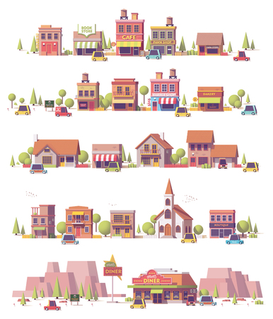 Vector low poly 2d small town scenes