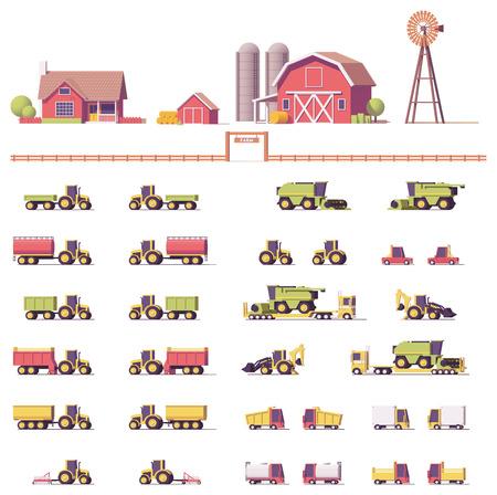 Vector lage poly landbouwmachines Stockfoto - 82741520