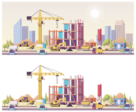 Vector low poly construction site Banco de Imagens
