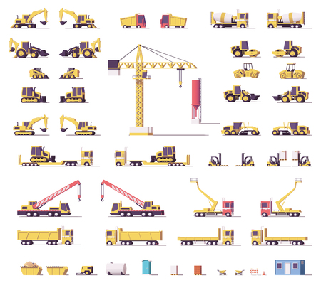 Vector low poly construction machinery Banque d'images