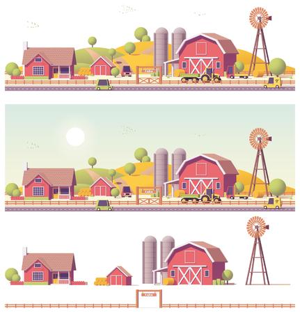 벡터 낮은 폴리 농장