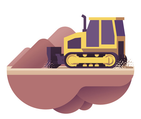 Vector bulldozer icon Illustration