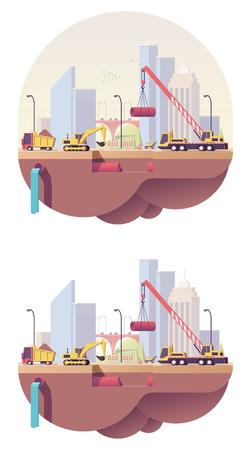 ベクトル低ポリ水道本管工事  イラスト・ベクター素材