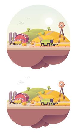 combines: Vector de baja campo de la granja agrícola trabaja