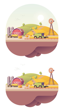 Vector low poly farm field works Banco de Imagens - 83476509