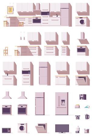 Attrezzature da cucina e set di mobili vettoriali