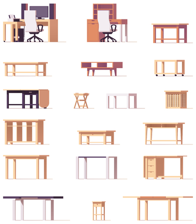 home office interior: Vector table set Illustration