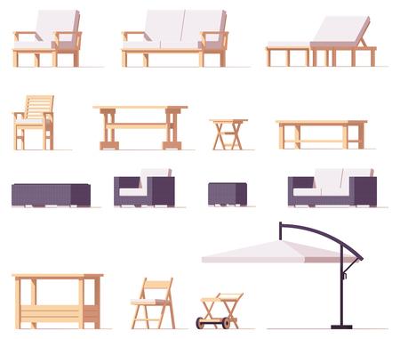 ベクトル パティオ、屋外用家具セット  イラスト・ベクター素材